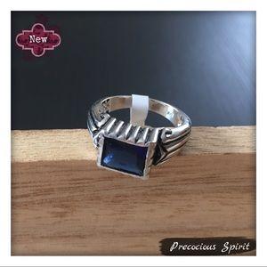 Pretty blue CZ gemstone crystal silver tone ring